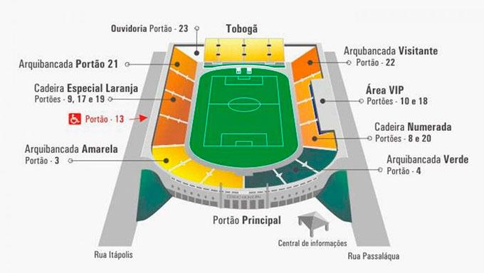 Mapa atual do Estádio do Pacaembu